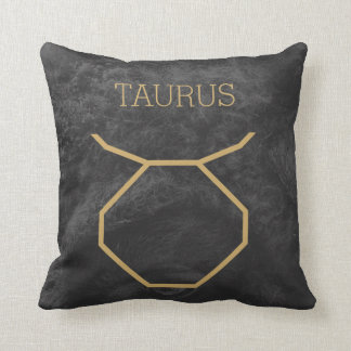 Taurus Zodiac Sign   Custom Background + Text Cushion
