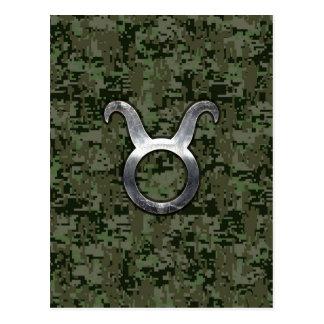 Taurus Zodiac Sign on Green Digital Camo Postcard
