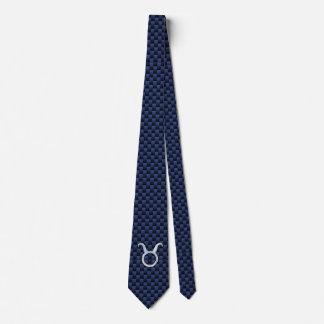 Taurus Zodiac Sign on Navy Blue Carbon Fiber Print Tie