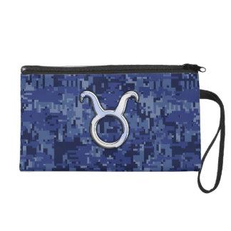 Taurus Zodiac Sign on Navy Blue Digital Camo Wristlet Purses