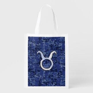Taurus Zodiac Sign on Navy Blue Digital Camo