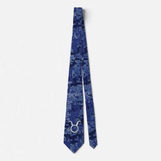 Taurus Zodiac Sign on Navy Blue Digital Camo Tie