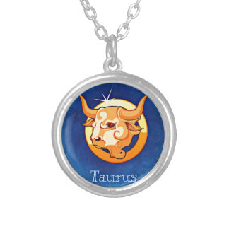 Taurus zodiac sign silver plated necklace