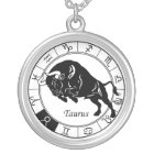 taurus zodiac silver plated necklace