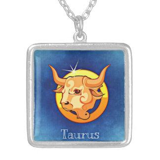 Taurus Zodiac Square Necklace
