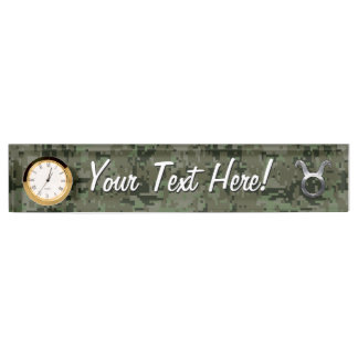 Taurus Zodiac Sybol on Olive Green Digital Camo Desk Nameplates