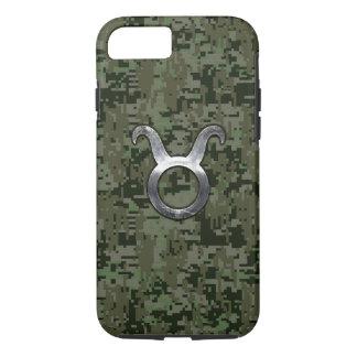 Taurus Zodiac Symbol on Green Digital Camo iPhone 7 Case