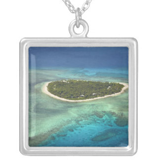 Tavarua Island and coral reef, Mamanuca Islands Silver Plated Necklace