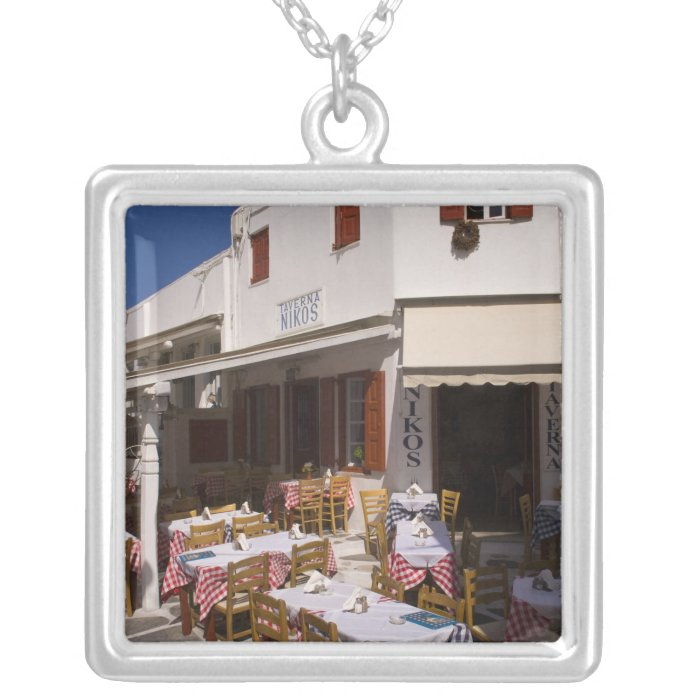 Taverna Nikos, Mykonos, Cyclades Islands, Greece Silver Plated Necklace