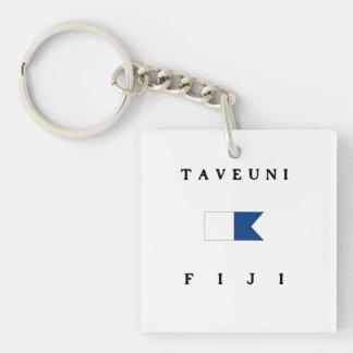 Taveuni Fiji Alpha Dive Flag Double-Sided Square Acrylic Key Ring