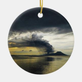Tavurvur Volcano Rabaul Caldera Erupting Round Ceramic Decoration