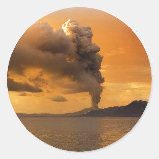 Tavurvur Volcano Rabaul Caldera Erupting Round Sticker