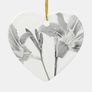 Tawny Day Lilly Digital Drawing Ceramic Heart Decoration