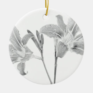 Tawny Day Lilly Digital Drawing Round Ceramic Decoration