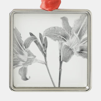 Tawny Day Lilly Digital Drawing Silver-Colored Square Decoration