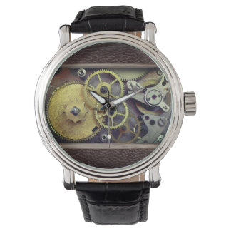 Tawny Leather with Steampunk Style Gears Watch