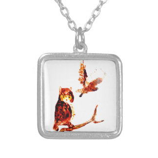 Tawny Owl Art Silver Plated Necklace