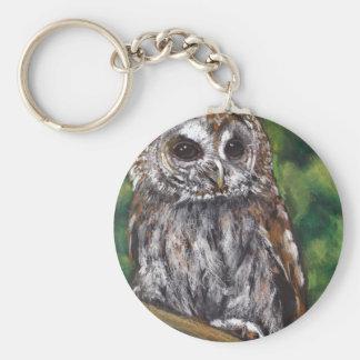 Tawny Owl Original Oil Pastel Art Key Chain