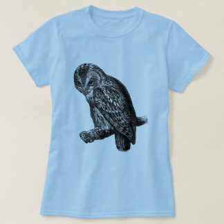 Tawny Owl Owls Bird Vintage Wood Engraving T-Shirt