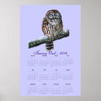 Tawny owl violet watercolor calendar 2014 poster