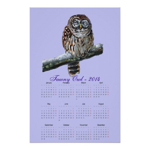 Tawny owl violet watercolor calendar 2014 posters