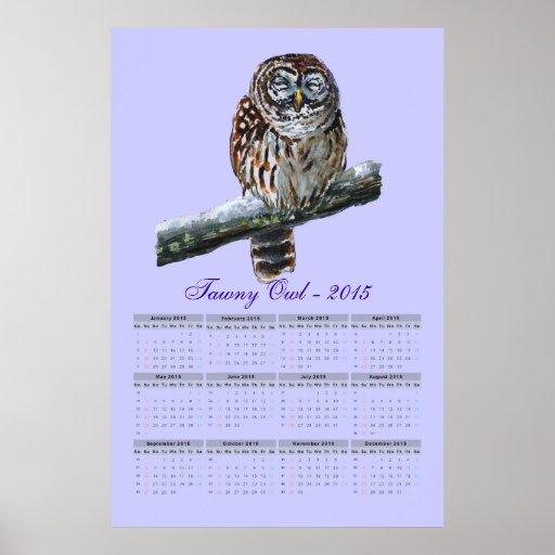 Tawny owl violet watercolor calendar 2015 print