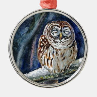 Tawny Owl watercolor painting Ornaments