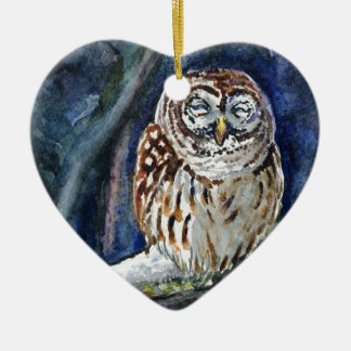 Tawny Owl watercolor painting Christmas Tree Ornaments