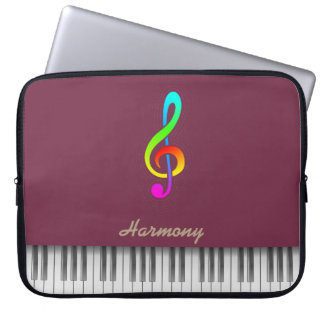"""Tawny port"" color & treble clef piano Laptop Sleeve"