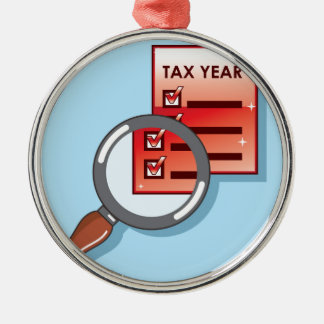 Tax Year Magnifying Glass Vector Zoom Christmas Ornament