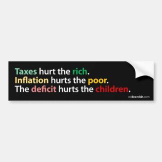 Taxes, Inflation, Deficit Car Bumper Sticker