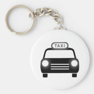 Taxi Cab Basic Round Button Key Ring