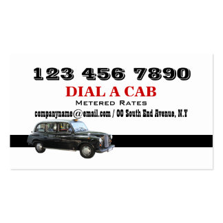 Taxi cab british london black pack of standard business cards