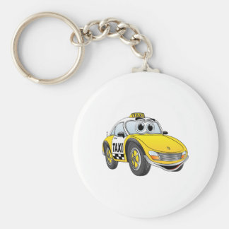 Taxi Cab Cartoon Basic Round Button Key Ring