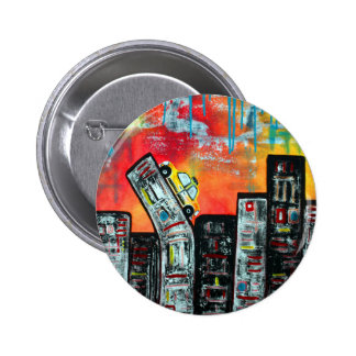 Taxi Cab City Art Buttons