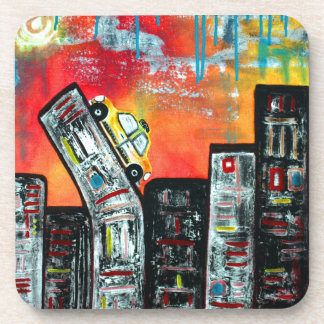 Taxi Cab City Art Drink Coaster