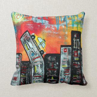 Taxi Cab City Art Throw Pillows