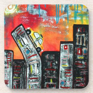 Taxi Cab City Art Drink Coaster