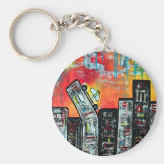 Taxi Cab City Art Key Chains