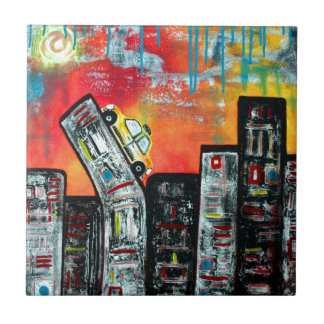 Taxi Cab City Art Small Square Tile