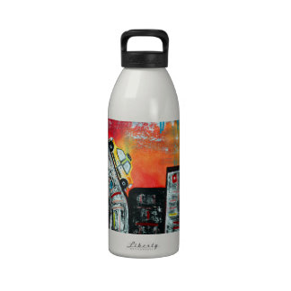 Taxi Cab City Art Water Bottle