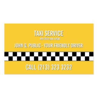 Taxi Cab Driver Simple One Sided Pack Of Standard Business Cards