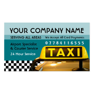Taxi Cab Sign With Airport And Station Price Lists Pack Of Standard Business Cards
