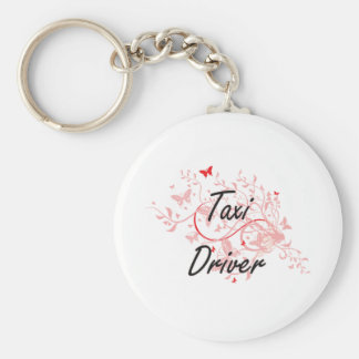 Taxi Driver Artistic Job Design with Butterflies Key Ring