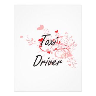 Taxi Driver Artistic Job Design with Hearts 21.5 Cm X 28 Cm Flyer