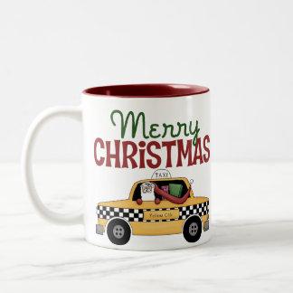 Taxi Driver Christmas Two-Tone Coffee Mug