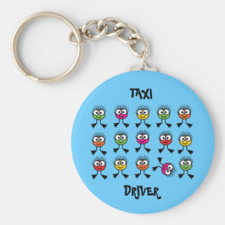 Taxi Driver - Swimming Parent - Blue Background Keychain