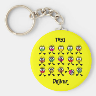 Taxi Driver - Swimming Parent - Bright Yellow Basic Round Button Key Ring