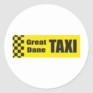 Taxi Great Dane Classic Round Sticker