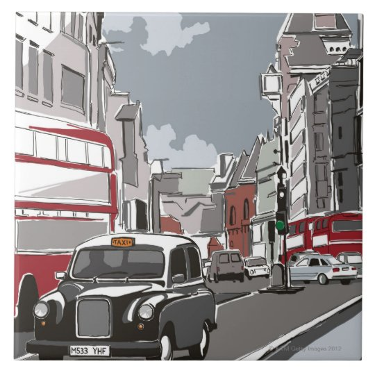 Taxi in London Large Square Tile